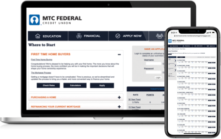 Mortgage site demos on laptop & iPhone