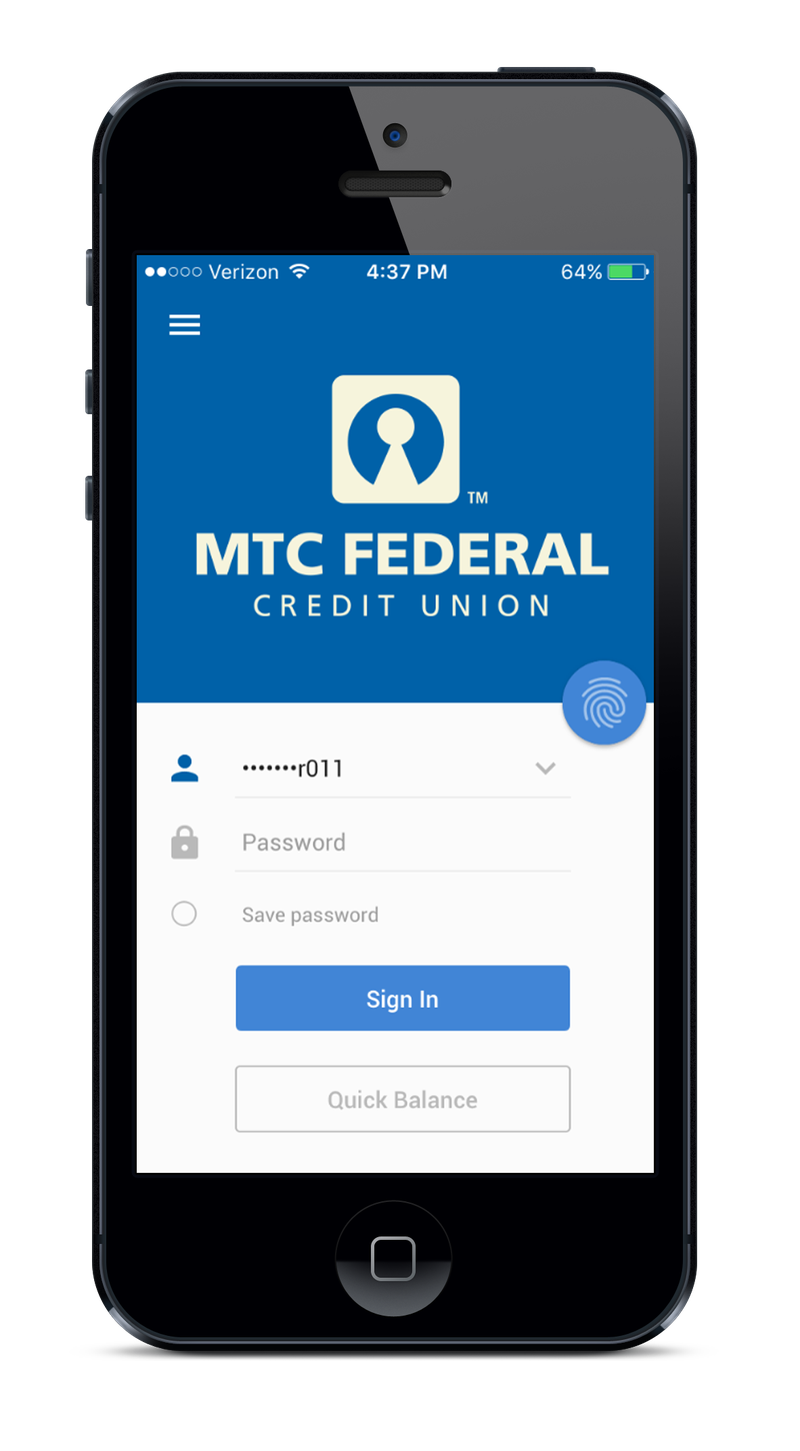 MTC Federal mobile app interface